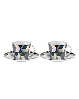 Portmeirion Geometrics Espresso Cup & Saucer set of 2
