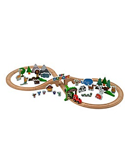 Hey Duggee 50 Piece Wooden Safari Train Set with Play Mat