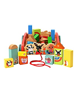 Bing Pull Along Wooden Cart With Blocks