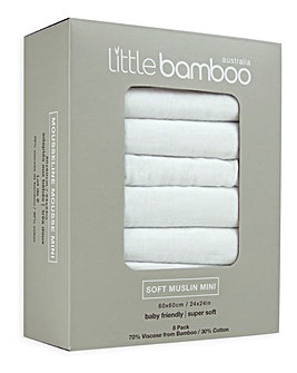 Little Bamboo Muslin Squares 8 Pack - Natural White