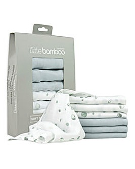Little Bamboo Muslin Baby Wash Cloths 6 Pack - Whisper