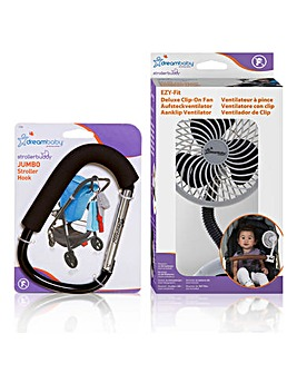 Dreambaby Jumbo Stroller Hook and Clip-On Fan Bundle