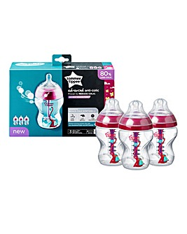Tommee Tippee Advanced Anti-Colic Baby Bottles Pink 260ml - 3 Pack