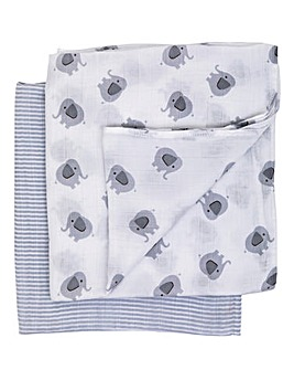 PurFlo Muslin Set Large 2pk - Elephant
