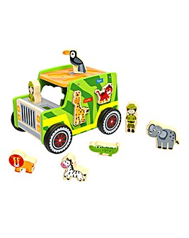 Tooky Toy Wooden Safari Jeep Set