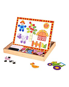 Tooky Toy Wooden Magnetic Double Sided Activity Board