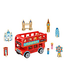 Tooky Toy Wooden London Bus - 10 Piece