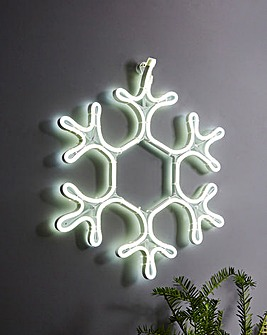 White Snowflake Neon Light