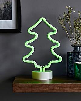 Green Neon Christmas Tree Light