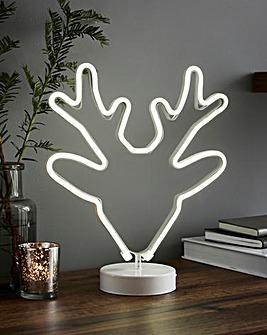 White Neon Reindeer Light