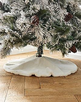 Luxury Faux Fur Christmas Tree Skirt 95cm
