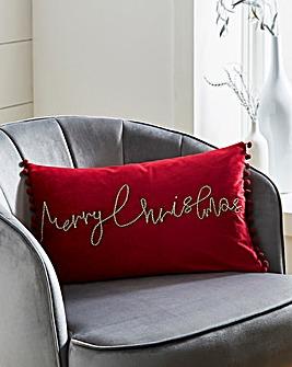 Red Velvet Merry Christmas Cushion with Pom Pom Trim 30 x 50cm