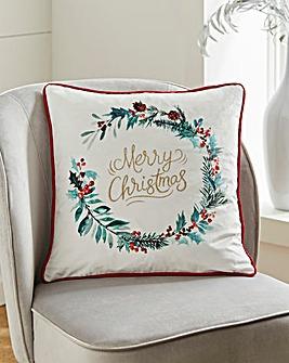 Merry Christmas Wreath Piped Cushion 45x 45cm