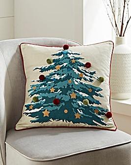 Pom Pom Christmas Tree Cushion 45 x 45cm