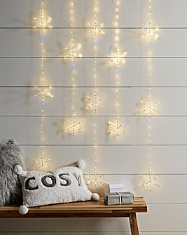 Snowflake Pinwire Warm White Twinkling Window Lights