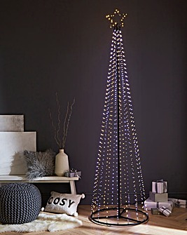 2.1M Pyramid Tree with LED Pinwire Lights & Star