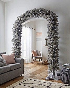 Grey Glitter Tipped Artificial Christmas Tree Arch