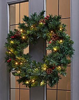 Christmas Pre-lit Berry & Cone Wreath