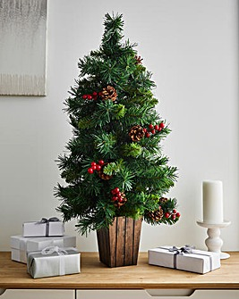 Christmas Pre-lit Berry & Cone 3ft Tree