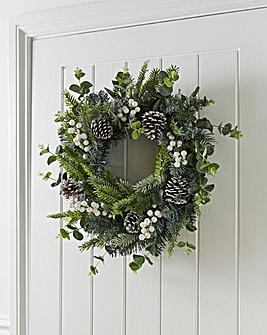 Luxury 50cm Eucalyptus Wreath with White Berries
