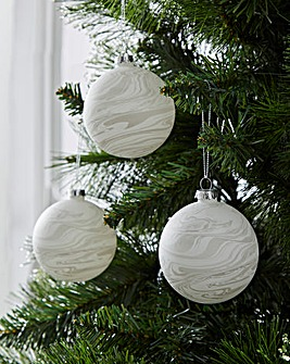Grey Marble Effect Baubles Set of 6