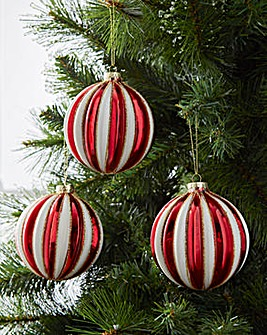 Red & White Round Glass Baubles Set of 6
