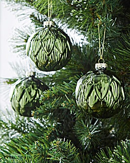 Layered Leaf Glass Baubles Set of 6