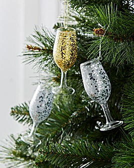 Gold & Silver Prosecco Baubles Set of 6