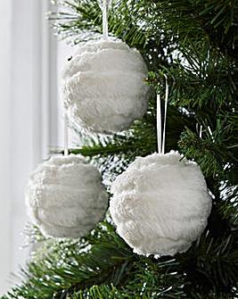 White Faux Fur Baubles Set of 6
