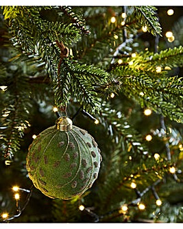 Frosted Leaf Glass Baubles Set of 6