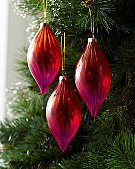Red Ombre Glass Teardop Baubles Set of 6