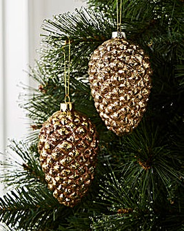 Copper Pinecone Glass Baubles Set of 4