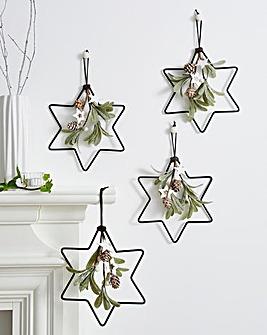 Frosted Mistletoe Stars Set of 4