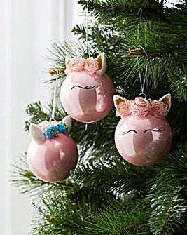 Pink Glass Unicorn Head Baubles Set of 4