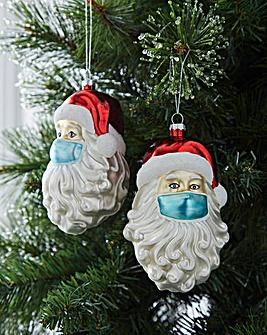 Mask Santa Baubles Set of 2
