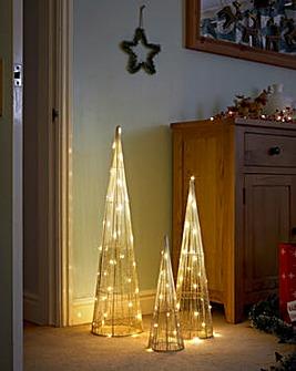 Set of 3 Gold Sparkle Lit Cones