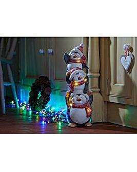Penguin Pile Up Lit Ornament