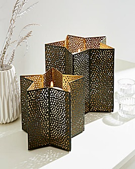 Set of 2 Star Candle Holders
