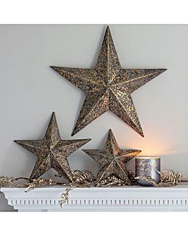 Medium Antique Gold Star Decoration