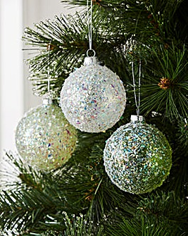 Set of 6 Green & White Baubles