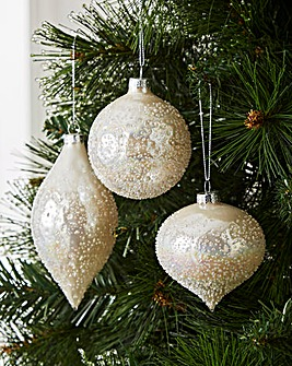 Set of 6 White Pearl Lustre Baubles