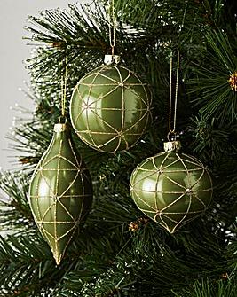 6 Green & Gold Glitter Jewel Baubles