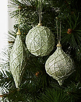 Set of 6 Green Encrusted Glitter Baubles