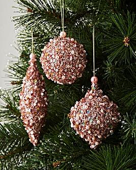 Set of 6 Pink Sequin Glitter Baubles