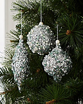 Set of 6 Silver Sequin Glitter Baubles