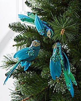 Set of 3 Sequin Parrot Tree Decorations