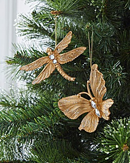 4 Gold Butterfly & Dragonfly Baubles