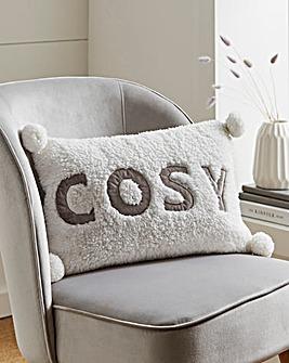 Cosy Pom Pom Fleece Cushion 30 x 50cm