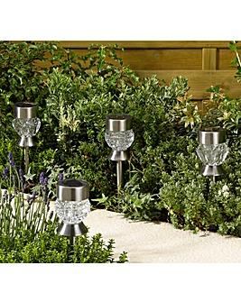 Smart Garden Set of 4 Solar Crystal Stake Lights