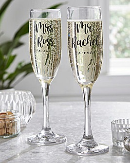 Friends Ross and Rachel Champagne Flutes